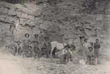 Workers at early Genoa limestone quarry